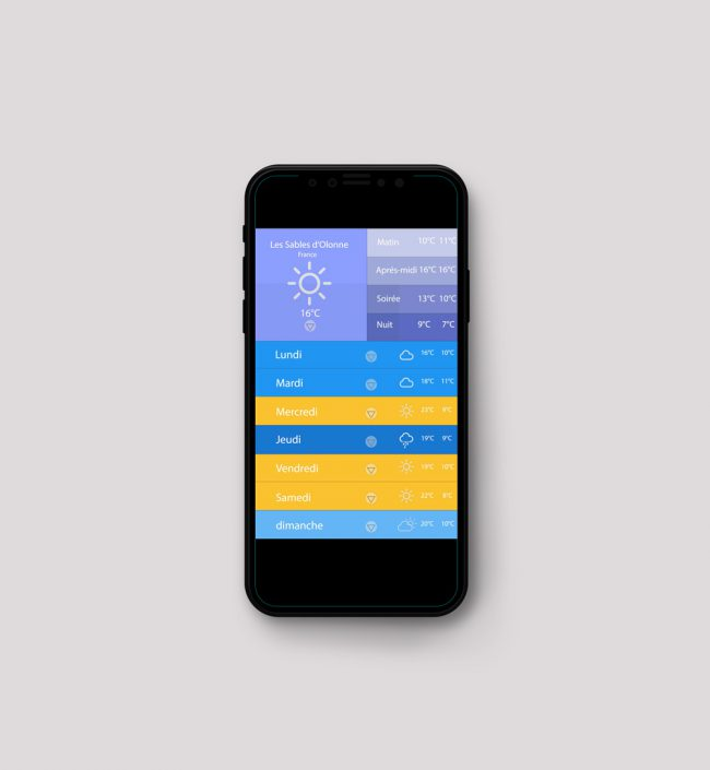 Application mobile meteo material design UI designer